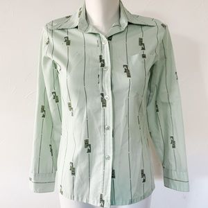 Vintage long sleeve shirt with horse pattern